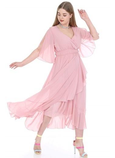 Angelino Butik Büyük Beden Şifon Uzun Elbise KL8020pu Pudra
